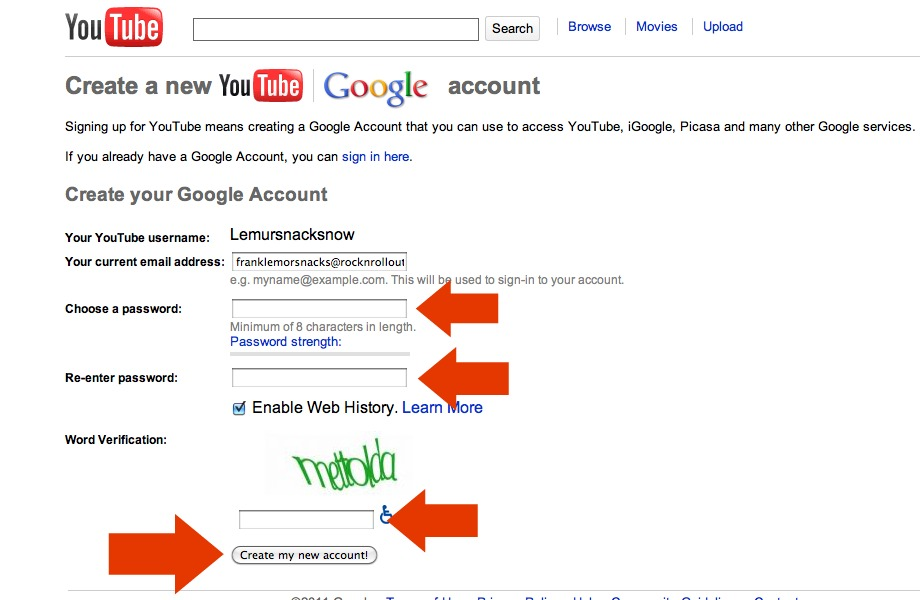 how to create just a youtube account